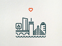 One Heart Boston (letterpress print)
