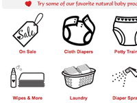 Icon Designs for Cloth Diaper Website