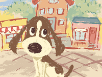 Sketch Of Hound On The Street