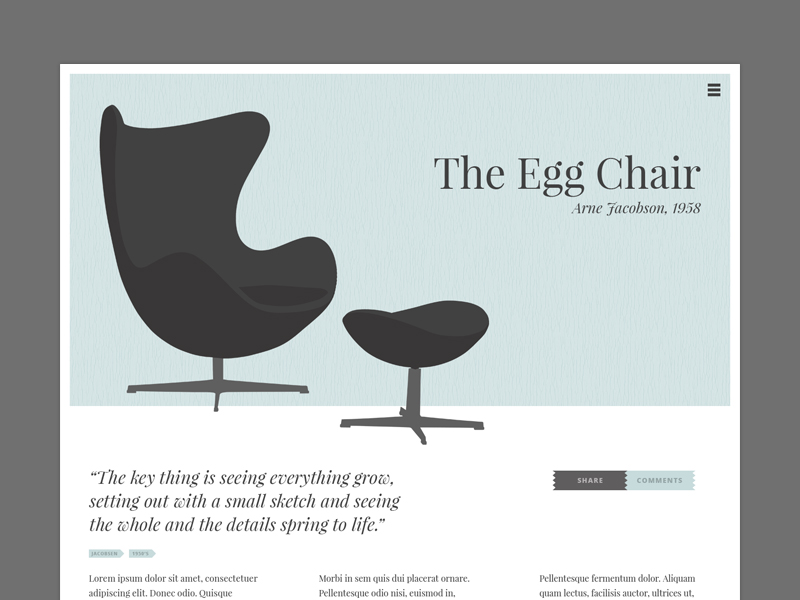 The Chair Website - Internal Page by Matthew Hensler
