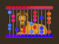 Lion caged in an Abacus
