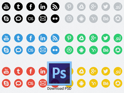 Download Pack of 20 Round Social Media Icons