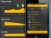 Tour de France app stages and teams