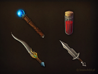 wand, hp potion, dagger & short sword
