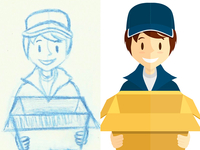 Delivery boy - from sketch to vectorial version