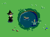 A witch, a duck, and very small rocks