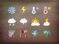 @2x Weather flat icons