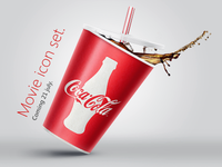 Coca-Cola icon. Movie icon banner.