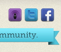 Fine tuned stitched social icons