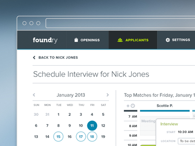 Foundry Hiring scheduler web app