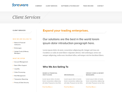 Finance-website-subpage