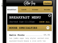 Coffee Shop Mobile Menu