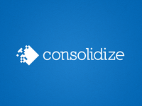 Consolidize Logo White on Blue