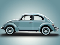 Volkswagen Beetle 2D Vector Illustration Adobe Fireworks