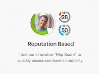 Rep Score feature highlight - landing page