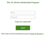 Sirrine Scholarship Login Page