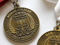 Man and Woman of the Year medal - cast