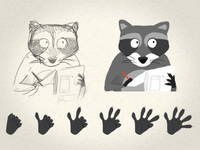 Raccoon and hands