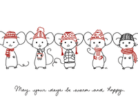 Mouse Winter Greeting Card Illustration
