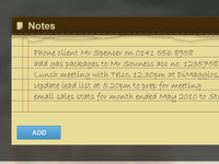 Sales Desktop UI - Notes Widget