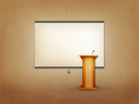 Freebie - Podium with projector screen PSD