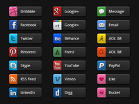 Social Media Buttons Dark UI