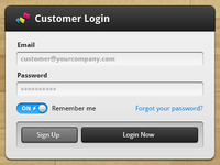 Customer Login UI