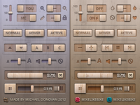 Toggles, Buttons and Sliders UI (Wooden)