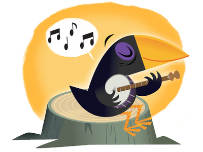 Crow with a banjo