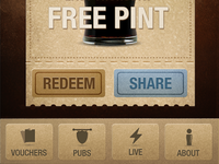 Free pint voucher screen