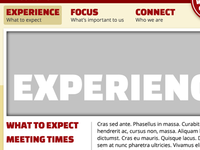 """Experience"" - church website subpage work-in-progress"