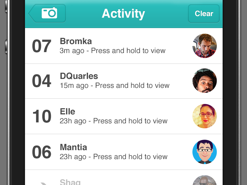 Dribbble - SnapChat Unsolicited Redesign - Activity View by Darian