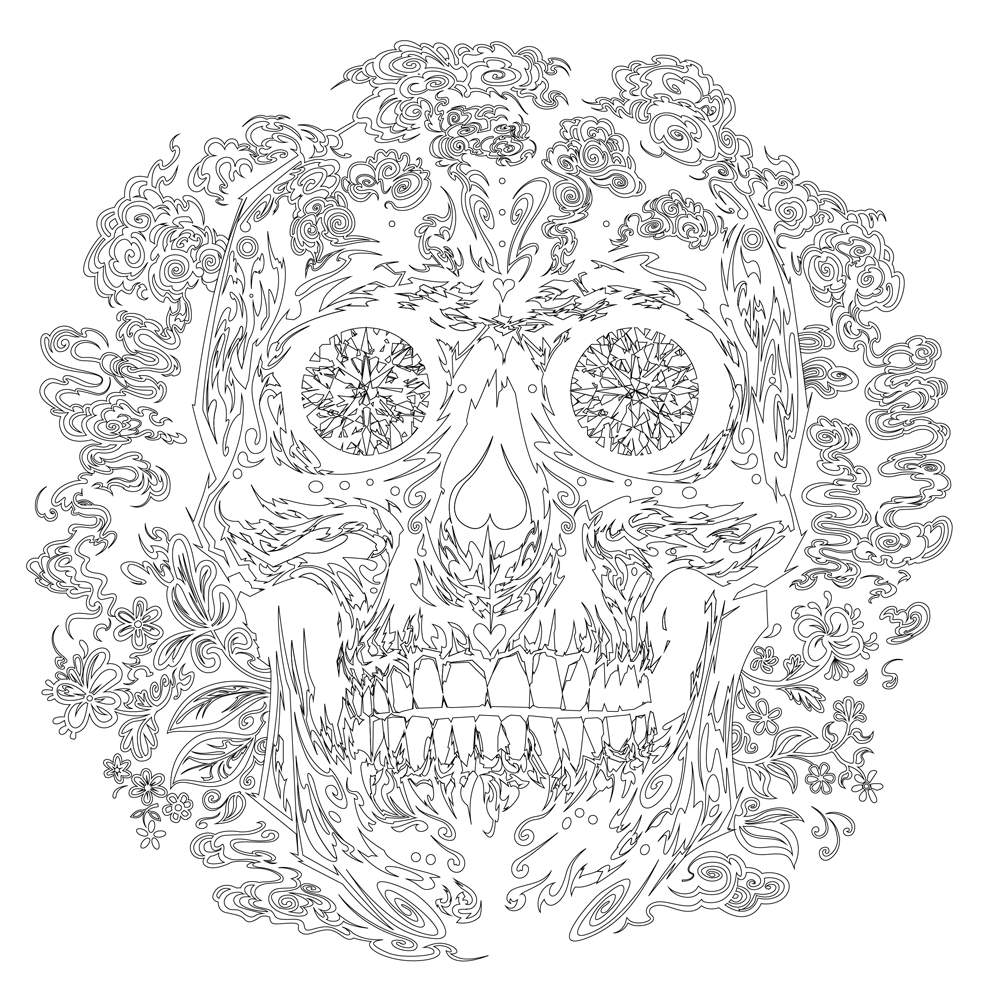 Sugar-skull---outline