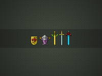 Pixel icons - shield and sword