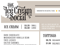 Ice Cream Social Menu.