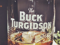 Etched Buck Turgidson Glass
