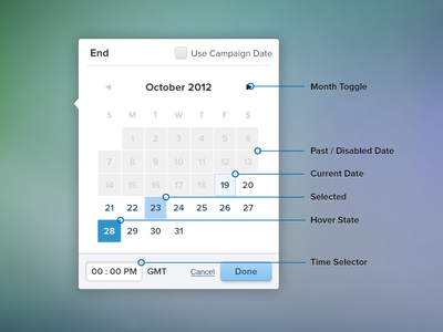 Combo Date Picker or Calendar - Different States