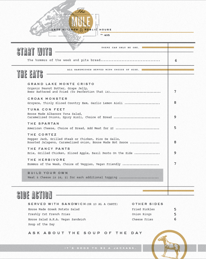 Mule Menu by Scott Hill