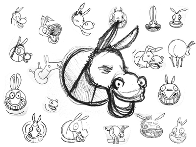 Laughing Donkey Sketches