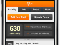 Final Activity View for Glue mobile web app