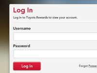 Toyota Rewards Log In Box
