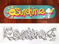 Sunshine Skateboard Printed