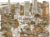 An in progress illustration of San Francisco