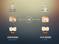 Icon design vs flat design