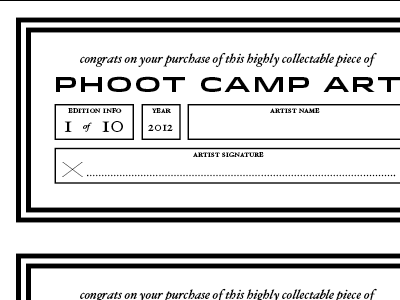Certificate for Phoot Camp 2012 prints