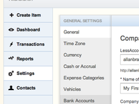 Settings Area (v3) of LessAccounting.com