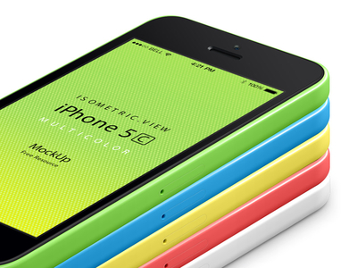 Download Perspective iPhone 5C PSD Vecetor Mockup