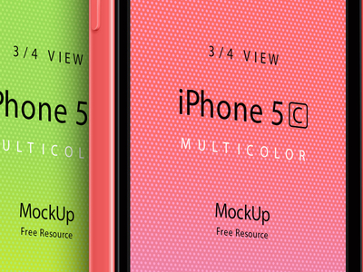 Download Three Quarter View iPhone 5C PSD Vector Mockup