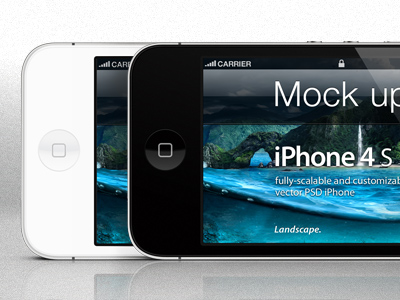 Download iPhone 4s PSD Landscape Mockup