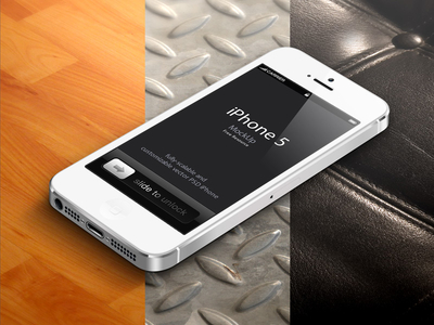 3D View White iPhone 5 Psd Vector Mockup
